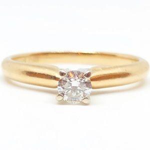 14k Yellow Gold Genuine Diamond Engagement Ring